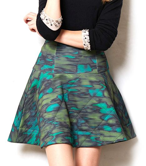 The pops of teal and quilted silk make this skirt decidedly ladylike.  