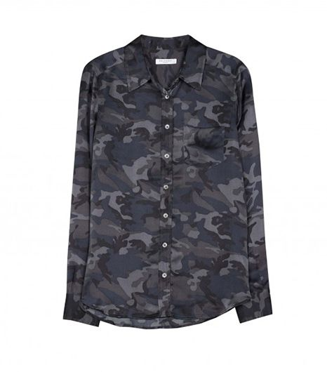 The muted blues and grays in this silk blouse keep it appropriate for even the most conservative office. 