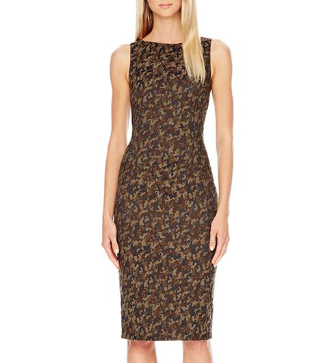 The micro camo on this classic shift would be gorgeous with brown accessories. 