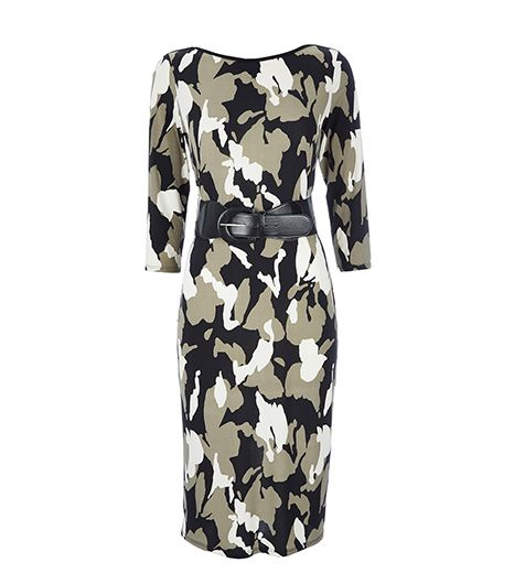 This affordable dress is the ideal foundation for a black trench coat and ankle boots. 