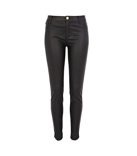 Black Leather Look Skinny Pants