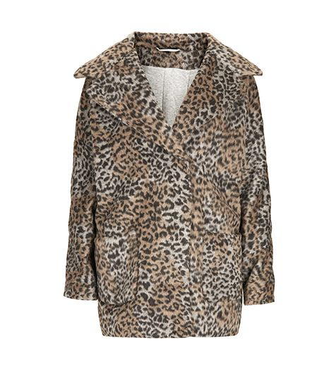 Leopard Print Wool Ovoid Coat
