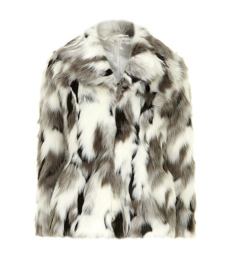 White and Grey Faux Fur Coat