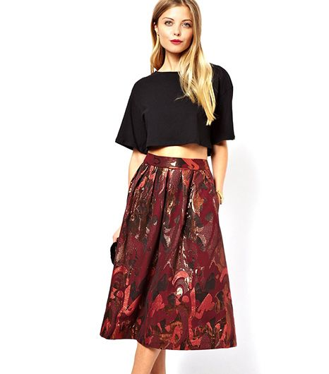 The rich burgundy hue also hits upon the wine trend for fall. Throw over tights with a turtleneck for chilly days. 