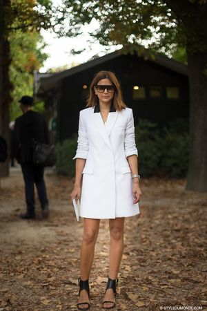 White Tuxedo Dress, Two Ways: Street Style Inspiration From Christine Centenera And Laetitia Casta