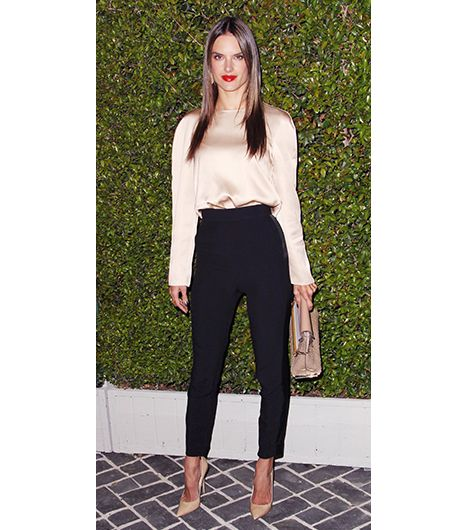 2. Silk Blouse   As a veteran Victoria's Secret model, Alessandra Ambrosio knows how to play down problem areas. Take note of the way the fabric on the champagne-hued silk blouse, which...