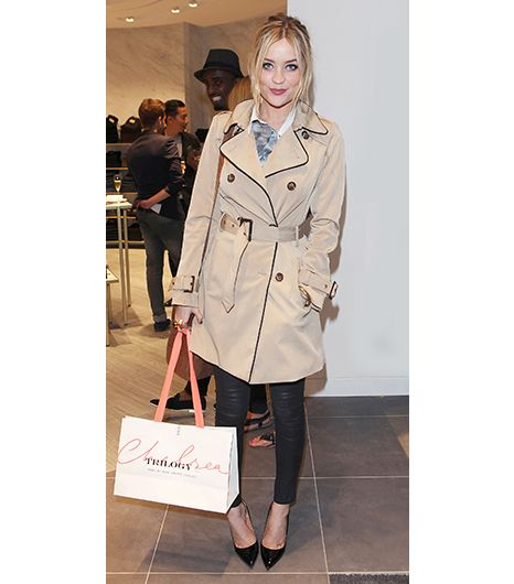 3. Trench Coat   There's a reason the trench coat never goes out of style: the built-in belt is ideal for enhancing an hourglass shape. At the Trilogy store launch in London, Laura...