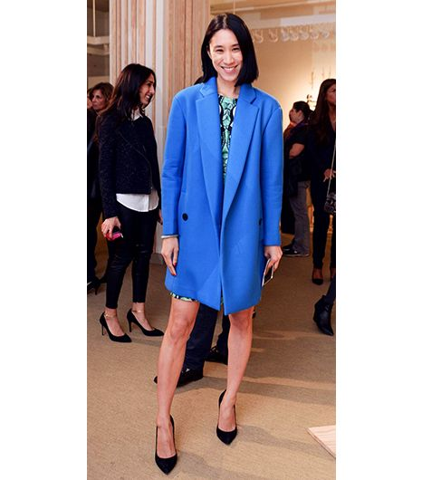 6. Menswear Coat   Whether or not you're bold enough to go for the electric blue Tibi Bonded Techy Twill Coat ($835) that Lucky Editor-in-Chief, Eva Chen, wore to the Ann Taylor S/S 14...
