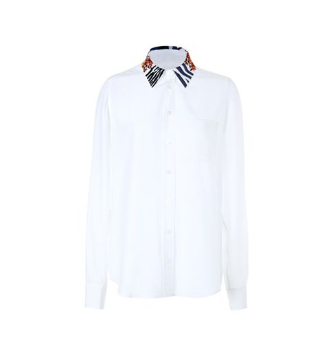 Equipment Brett Embroidered-Collar Silk Blouse ($250)