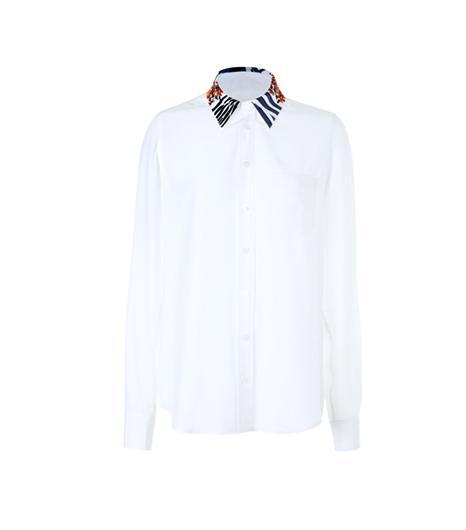 Equipment Brett Embroidered-Collar Silk Blouse ($250)