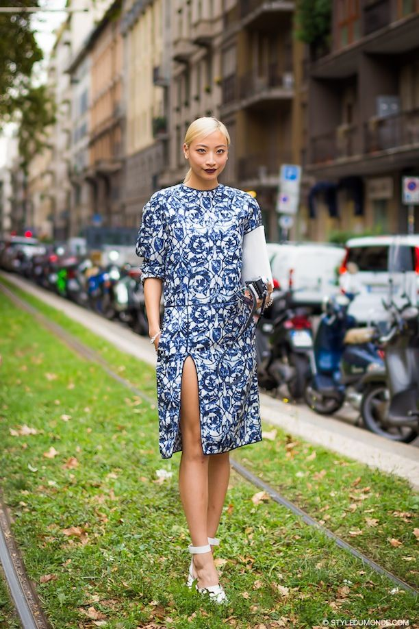 Two Takes On The Porcelain Print Dress, See The Street Style Shots