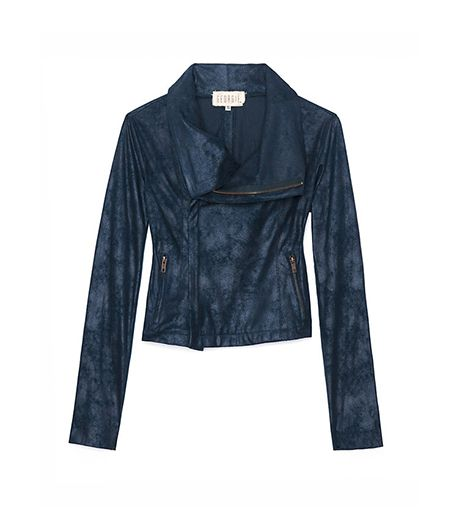 Georgie Exclusive Leather Like Perforated Sleeve Moto Jacket ($318) in Blue