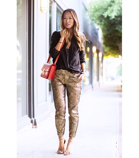 10. Hit The Metallics   Try this: take one party-ready metallic piece, in this case, Aimee Song of Song of Style selected Zadig et Voltaire gold pants, and add a skin-baring basic, such as...