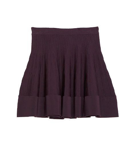 A.L.C. Exclusive Rib Seam Detail Flare Skirt ($345) in Merlot