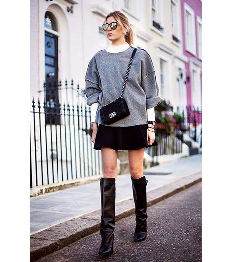 10. Turtleneck + Oversized Sweatshirt