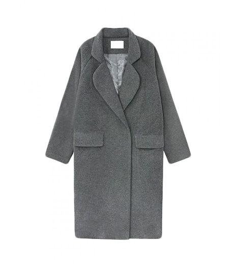 Choies Deep Gray Longline Wool Coat ($81)