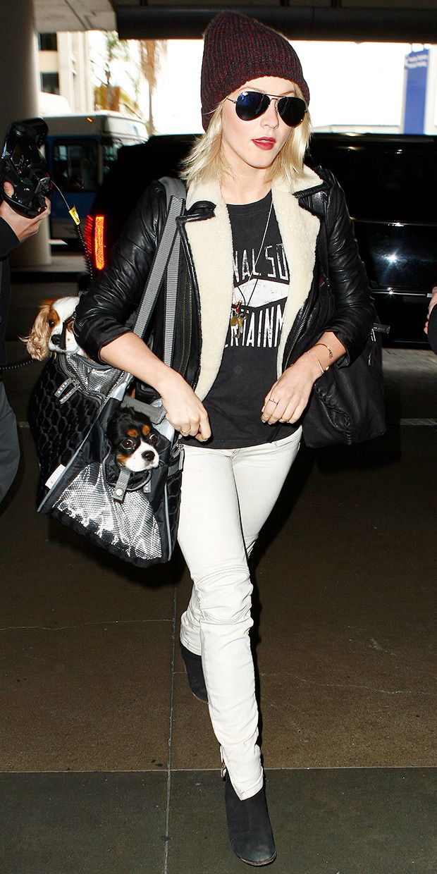 Julianne Hough Keeps Cozy At LAX.