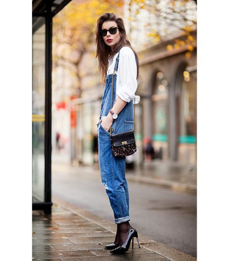 Irina Lakicevic of A Portable Package  On Lakicevic: Acne shirt; Current/Elliott overalls; by Malene Birger bag; Saint Laurent shoes