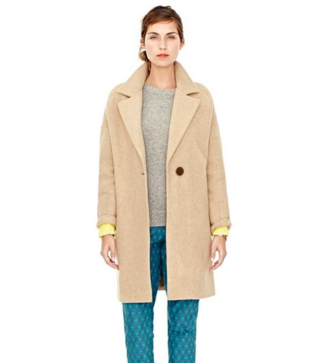 This boxy one-button cocoon coat is the style of the season, and will look great when paired with a midi skirt and turtleneck. 