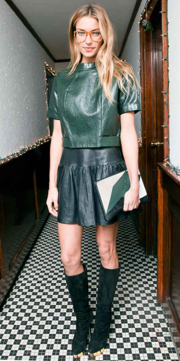 Jessica Hart Proves Two Leather Pieces Are Better Than One