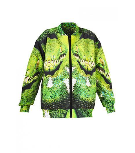 Mr Gugu & Miss Go Snake Printed Bomber Jacket ($97)
