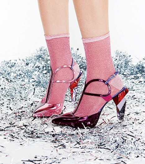 Go monochrome when you're styling around colorful metallic shoes.  Pick a thin sock or tights in one of the subtler hues, so it anchors the look.