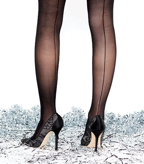 Sometimes it's all about the exit.  Back-seam hose are the ladylike counterpoint to a charming lace court shoe.