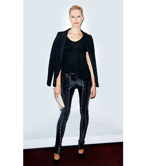 Tip 10: Add A Statement Piece   Bondage-inspired leather leggings like Karolina Kurkova's GLAW Berlin pair would look costume-y in any other color, yet as part of an all-black ensemble the...