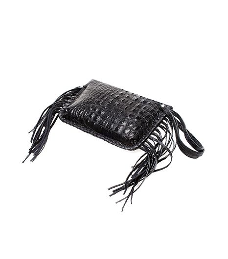 Zara Crocodile Print Leather Clutch With Fringes ($159)