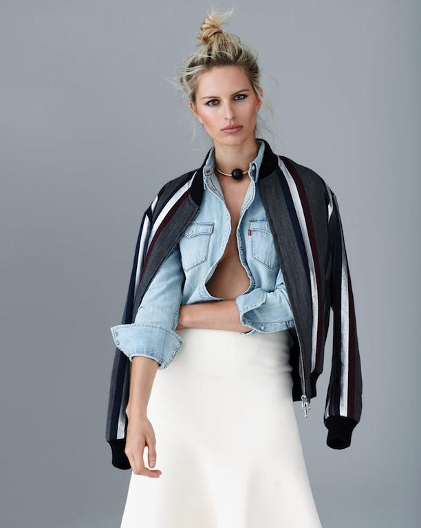Karolina Kurkova In Mixed Denim Looks For S Moda