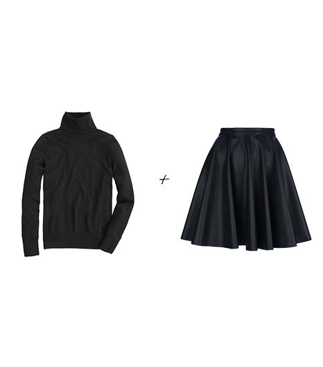 J.Crew Merino Turtleneck Sweater ($85) in Black; Amen Circle Skirt ($263)