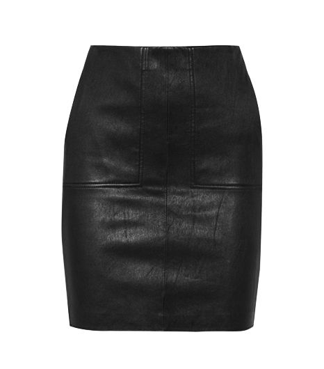 Vince Leather And Stretch-Jersey Pencil Skirt ($382)