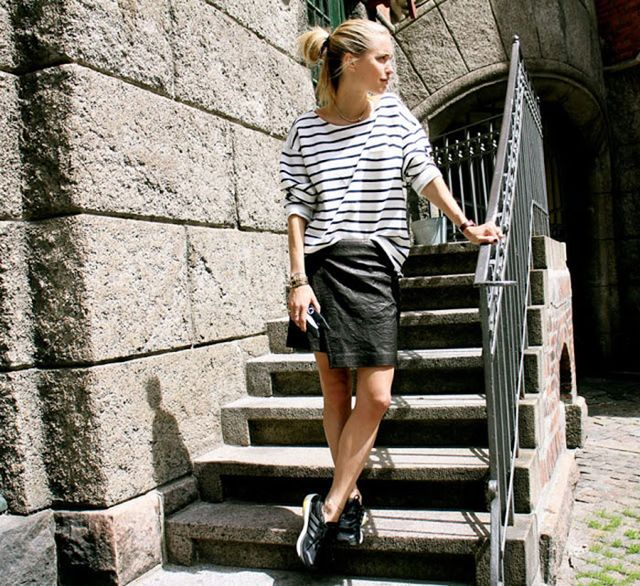 Stripe Shirt + Leather Skirt