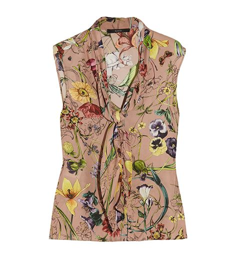 Gucci Floral-Print Silk Georgette Top ($398)