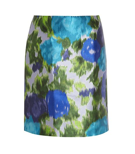 Michael Van Der Ham Printed Satin-Twill Skirt ($335)
