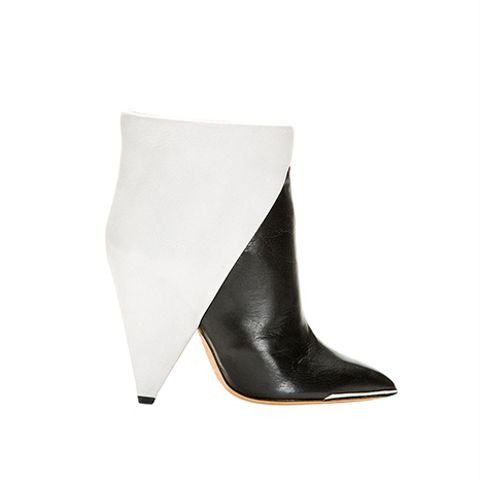Iro Black & Gray Leather Cone Heels