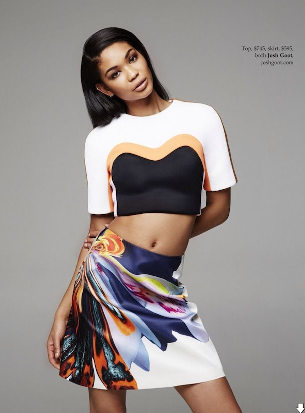 Chanel Iman In Tropical Print Mix Looks For Vogue Australia
