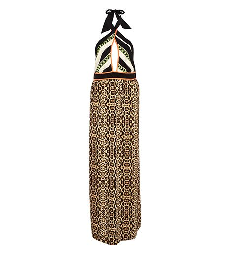 River Island Brown Leopard Print Wrap Neck Maxi Dress ($70) 