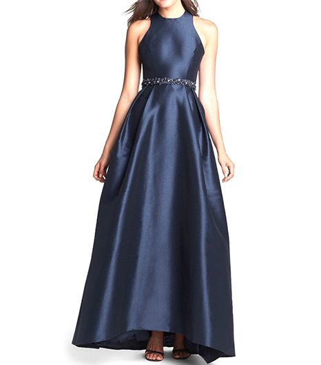 ML Monique Lhuillier Cross Strap Faille Ballgown ($598) 