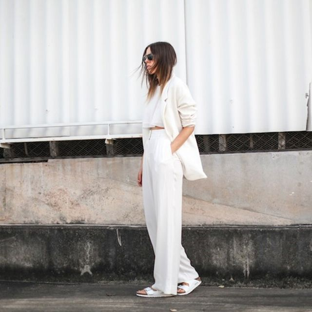 Modernlegacy is wearing: Zara blazer, Sass & Bide pants, Birkenstock sandals.