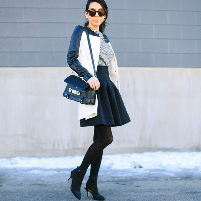 Moiology is wearing: Zara coat, Joe Fresh sweater, Anthropologie skirt, Proenza Schouler bag, Zara heels.