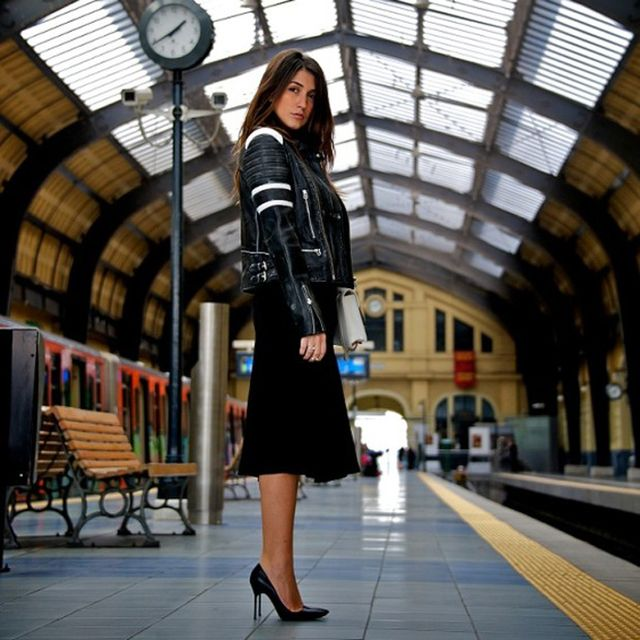 Wherecanifindthe is wearing: Each x Other jacket, ASOS skirt, Manolo Blahnik heels, Yves Saint Laurent bag.