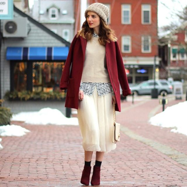 Jessannkirby is wearing: Old Navy coat, Chicwish skirt, Steve Madden booties, Sole Society bag.