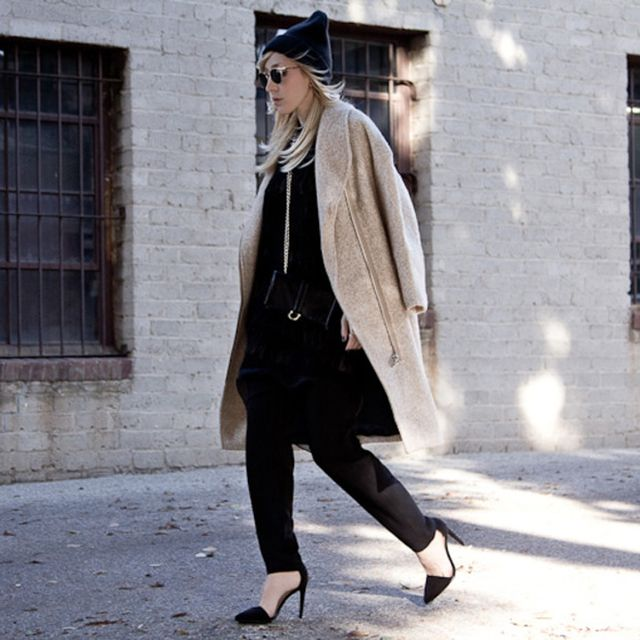 Thefashionsight is wearing: Eleven Paris coat, ASOS pants, Helmut Lang dress, Nasty Gal hat.
