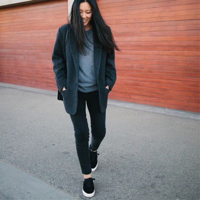Andyheart is wearing: Equipment sweater, Eytys sneakers, Isabel Marant coat, Acne Studios jeans, Celine bag.