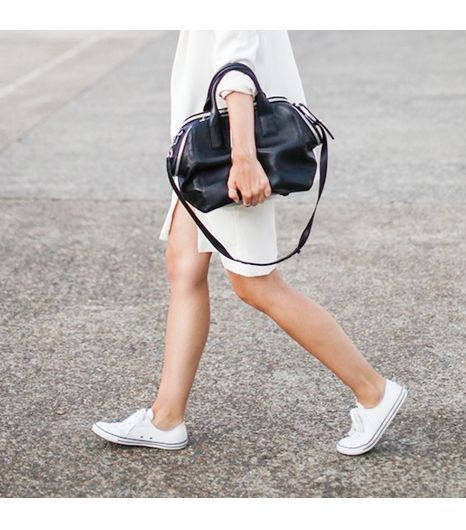 Modernlegacy is wearing: Alexander Wang bag, Zara blazer, LIUK dress, Converse sneakers.