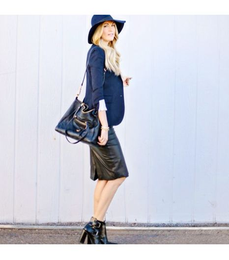 Dashofdarling is wearing: Tibi booties, Zara skirt, Louis Vuitton bag, Tory Burch hat.