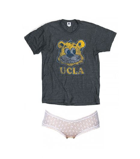 UCLA Heathered Vintage Joe T-Shirt ($20) in Graphite and Urban Outfitters Daisy Love Boy Short ($8)