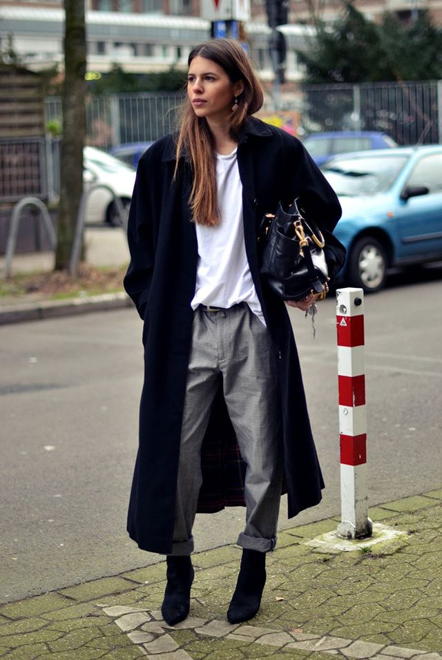 Day 3: Go big or go home with an oversized coat, baggy t-shirt, and loose trousers.