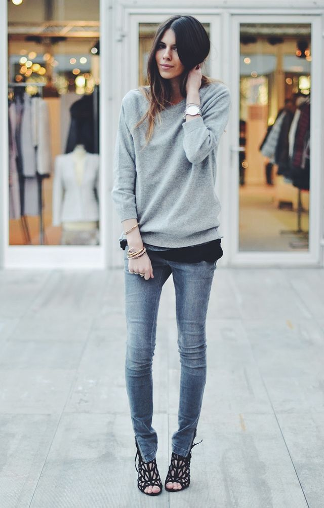 Day 13: Make a neutral outfit interesting by layering and adding a pair of statement shoes.